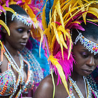London, UK - 25 August 2014: two revellers in costume during the Notting Hill Carnival in London.