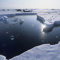 INTERNATIONAL ARCTIC PROJECT. Open water lead that opened suddenly through expedition's camp on frozen Arctic Ocean. In 5 min. it became 30' wide.