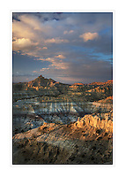 Sunset over Badlands at Angel Peak Scenic Area, New Mexico