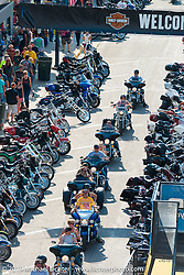 Main Street on Sunday afternoon during the annual Sturgis Black Hills Motorcycle Rally. SD, USA. August 3, 2014.  Photography ©2014 Michael Lichter.