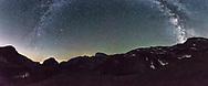 Milky way over the mountain ridge