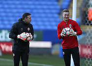 Darren Ward goalkeeping coach and Simon Moore of Sheffield Utd during the FA Cup Second round match at the Macron Stadium, Bolton. Picture date: December 4th, 2016. Pic Simon Bellis/Sportimage
