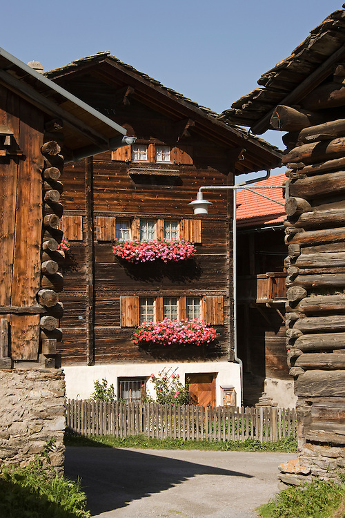 Log cabins in a village, Vrin, Switzerland