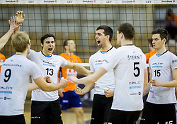 Players of Calcit celebrate during volleyball match between ACH Volley and OK Calcit Volleyball in 10th Round of Slovenian National Championship 2014/15, on March 11, 2015 in Arena Tivoli, Ljubljana, Slovenia. Photo by Vid Ponikvar / Sportida