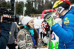 """Journalist Ana Kobal and Stefan Hadalin (SLO) after the 1st Run of FIS Alpine Ski World Cup 2017/18 Men's Slalom race named """"Snow Queen Trophy 2018"""", on January 4, 2018 in Course Crveni Spust at Sljeme hill, Zagreb, Croatia. Photo by Vid Ponikvar / Sportida"""