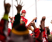 Washington Capitals forward T.J. Oshie celebrates after scoring the go-ahead goal against the Pittsburgh Penguins on February 23, 2020.