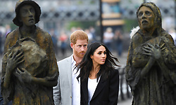 The Duke and Duchess of Sussex view the Famine Memorial during a visit to Dublin, Ireland. Photo credit should read: Doug Peters/EMPICS