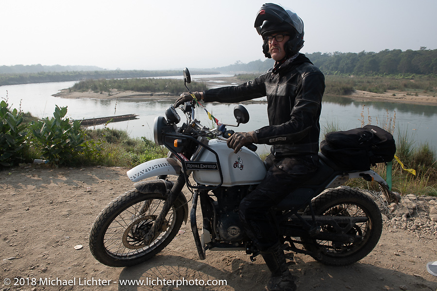 Corey Froschheuser along the East Rapti River in Chitwan National Park for our Himalayan Heroes adventure day-3 ride from Chitwan to Pokhara, Nepal. Thursday, November 8, 2018. Photography ©2018 Michael Lichter.