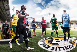 the players of Fortuna Sittard and Bayer 04 Leverkusen enter the pitch during the Pre-season Friendly match between Fortuna Sittard and Bayer Leverkusen at the Fortuna Sittard Stadium on July 28, 2018 in Sittard, The Netherlands