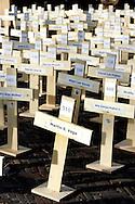 THE NETHERLANDS-THE HAGUE- Protest against the Death Penalty in the United States...PHOTO: Gerrit de Heus. Den Haag. 01/12/05. Amnesty International protesteert met het plaatsen van duizend kruizen voor de Amerikaanse ambassade tegen het behalen van de macabere mijlpaal van 1000 executies. Op de voorgrond een kruis met de naam John Earl Bush, waarschijnlijk geen familie van de president...