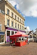 Market stalls in Market Place next to Nat West bank building, Newbury, Berkshire, England, UK