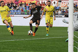 April 28, 2018 - Rome, Italy - Stephan El Shaarawy kicks goal 3-0 during the Italian Serie A football match between A.S. Roma and Chievo at the Olympic Stadium in Rome, on april 28, 2018. (Credit Image: © Silvia Lore/NurPhoto via ZUMA Press)
