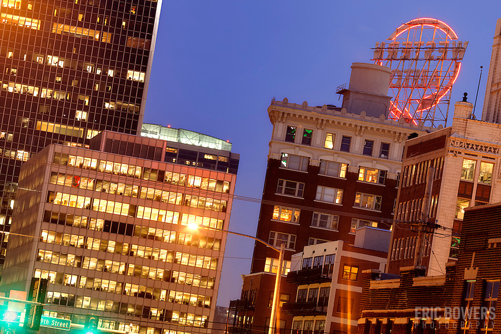 Crossroads District and Crown Center at dusk, Kansas City, MO.