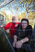Astrid Nordfjell and daughter. Participating at the slaghtering av their reindeers. Gåbrien Sijte, at Brekken, Mid-Norway.