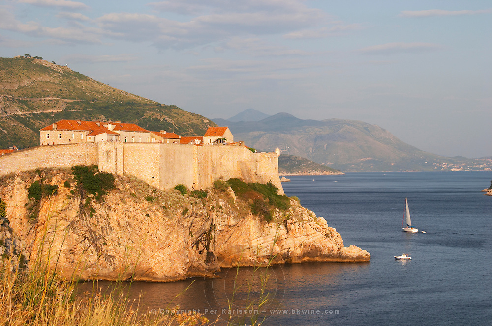 A view of the Lovrijenac Fort and the sea, mountains in the background Dubrovnik, old city. Dalmatian Coast, Croatia, Europe.