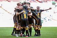 Morpeth Town players celebrate scoring the equaliser. 1-1 during the FA Vase match between Hereford and Morpeth Town at Wembley Stadium, London, England on 22 May 2016. Photo by Mark Doherty.