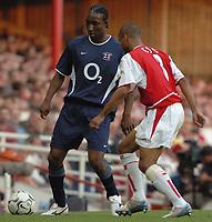 Photo. Raymond Field, Digitalsport<br /> NORWAY ONLY<br /> <br /> Martin Keown Testomonial Match<br /> <br /> Arsenal v England x1<br /> 170504<br /> Ashley Cole trys to stop Jlloyd Samuels