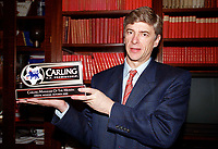 Arsenal manager Arsene Wenger recieves the Carling Premiership Manager of the month award for October 2000 before the match. Arsenal 0:0 Derby County. F.A. Premiership, 11/11/2000. Credit: Colorsport / Stuart MacFarlane.