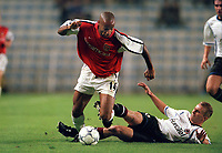 Thierry Henry (Arsenal) Rene Bolf (Sparta Prague). AC Sparta Prague 0:1 Arsenal. UEFA Champions League, Prague, Czech Republic, 12/9/2000. Credit: Colorsport / Stuart MacFarlane.