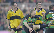 Northampton, Northamptonshire, UK, 08.12.2001,  Wasps locks, [L] Ian JONES, and, [R] Simon SHAW,  during the, Northampton Saints vs  London Wasps, Zurich Premiership Rugby, Franklyn Gardens, [Mandatory Credit: Peter Spurrier/Intersport Images]<br /> 8-12-2001