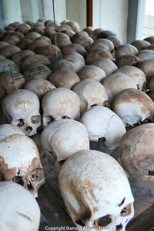 Skulls of young adults, victims of the Khmer Rouge