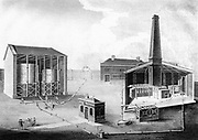 Gas works: l: Retort House. 2: Tar cistern. 3: Condenser. 5,6: Gasholder. 7: Office. 8: Workshops. aa: Pipes connecting tar cistern to hydraulic main.b, Pipe connecting a,a, and condenser. From 'The Oxford Encyclopaedia', Oxford, 1828.