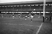 16/10/1966<br /> 10/16/1966<br /> 16 October 1966<br /> Oireachtas Minor Final: Cork v Wexford at Croke Park, Dublin. <br /> Cork goalie (right) sees the ball go over the line for a 70 yard free.