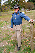Arkansas, AR, USA, Old Washington State Park, Civil War Weekend a posed confederate soldier