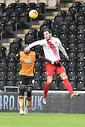 Harry Lennon of Charlton Athletic gets to the ball before Hull City midfielder Mohammed Diame (17) during the Sky Bet Championship match between Hull City and Charlton Athletic at the KC Stadium, Kingston upon Hull, England on 16 January 2016. Photo by Ian Lyall.