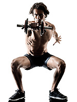 one caucasian man fitness weitghs training exercises  studio in silhouette isolated on white background