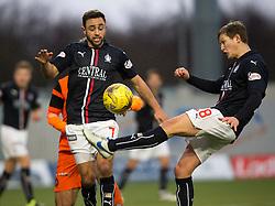 Falkirk's Tom Taiwo and Falkirk's James Craigen. Falkirk 3 v 0 Dundee United, Scottish Championship game played 11/2/2017 at The Falkirk Stadium.