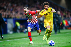 November 6, 2018 - Madrid, MADRID, SPAIN - Juanfran of Atletico de Madrid and Manuel Akanji of Borussia during the UEFA Champions League football match between Atletico de Madrid and Borussia Dormund on November 06th, 2018 at Estadio Wanda Metropolitano in Madrid, Spain. (Credit Image: © AFP7 via ZUMA Wire)