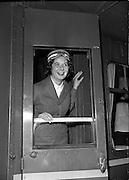 20/05/1959<br /> 05/20/1959<br /> 20 May 1959<br /> New C.I.E. Rail Hostesses -  Deirdre McVeigh, (Cork) at Kingsbridge Station (Hueston Station), Dublin.