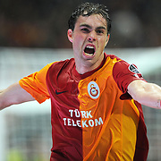 Galatasaray's Johan Elmander celebrate his goal during their Turkish superleague soccer derby match Galatasaray between Fenerbahce at the TT Arena in Istanbul Turkey on Friday, 18 March 2011. Photo by TURKPIX