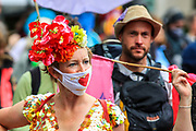 Climate change demonstrators from environmental activist group Extinction Rebellion kick-started their 4th day on Thursday, Aug 26, 2021- with their round of protests in central London, promising two weeks of disruption. (VX Photo/ Vudi Xhymshiti)