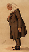 The Abbe'.  Franz (Ferencz) Liszt (1811-1886) Hungarian pianist and composer shortly after his third and last visit to England when he played for Queen Victoria at Windsor. Liszt died on 31 July 1886. Cartoon by 'Spy' (Leslie Ward, 1851-1922) from 'Vanity Fair' (London, 15 May 1886).