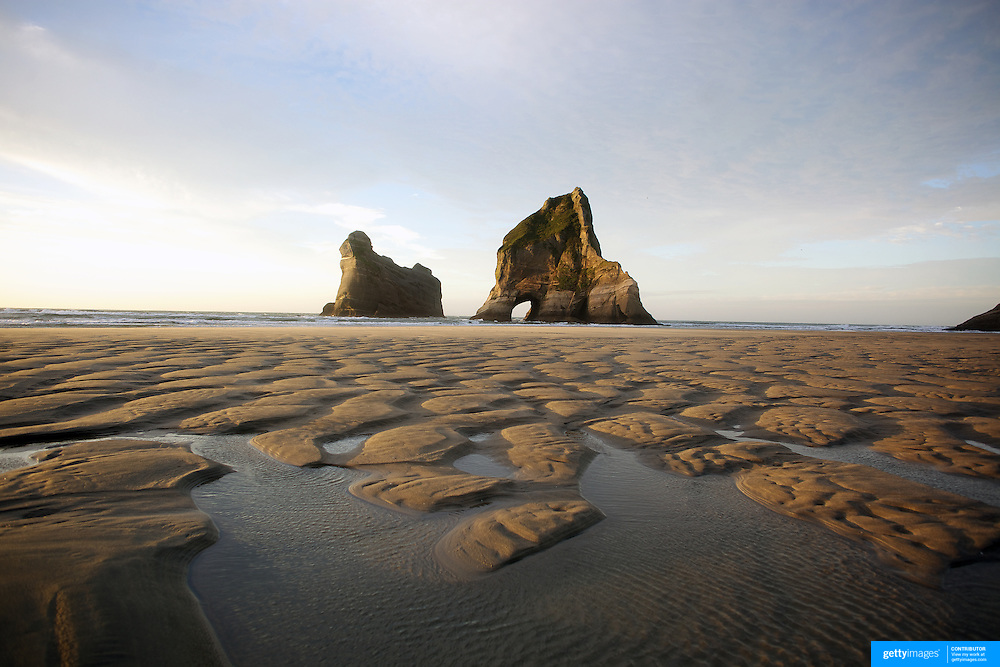 Wharariki Beach and Archway Islands, Golden Bay, situated just west of Cape Farewell and Farewell Spit at the northern most point of the South Island of New Zealand..Wharariki beach is approximately an hour's drive from Takaka, and is accessible by a 20 minute stroll across private, rolling farmland..The remote beach is characterised by bold cliff lines, high arches, caves, sand dunes and is home to fur-seals and seabirds. The wind sweeping the western coast has resulted in quirky, intriguing bushland. Wharariki Beach, South Island, New Zealand. 7th February 2011. Photo Tim Clayton..