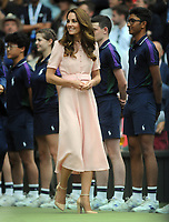 Lawn Tennis - 2021 All England Championships - Men's Final Sunday - Wimbledon - Novak Djokovic  v Matteo Berrettini on Centre Court<br /> <br /> HRH The Duchess of Cambridge (Cate) talks to the ball boys and girls after the match<br /> <br /> Credit : COLORSPORT / Andrew Cowie