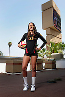 10 August 2010: #21 Kimmee Roleder OH Senior year  on the Pac-10 NCAA College Women's Volleyball team for the USC Trojans Women of Troy photographed at the Galen Center on Campus in Southern California. .Images are for Personal use only.  No Model Release, No Property Release, No Commercial 3rd Party use. .Photo Credit should read: ©2010ShellyCastellano.com