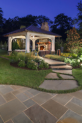 VA1-966-326 322 Owaissa Twilight shot of outdoor pavilion with large stone pathway