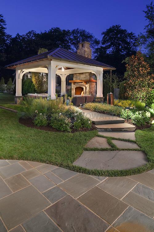 VA1-966-326 322 Owaissa Twilight shot of outdoor pavilion with large stone pathway