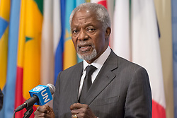 October 13, 2017 - New York, NY, United States - Former United Nations Secretary-General Kofi Annan acting in his capacity as Chair of the Advisory Commission on Rakhine State, met with the UN press corps at the Security Council  at UN Headquarters.  Mr. Annan's remarks followed his participation in an Arria-Formula meeting of the Security Council regarding the worsening Rohingya refugee crisis. (Credit Image: © Albin Lohr-Jones/Pacific Press via ZUMA Wire)