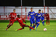 South Park forward Chris Smith (14) and South Park midfielder Dale Burgess (12) during the Ryman League - Div One South match between Carshalton Athletic and South Park FC at War Memorial Sports Ground, Carshalton, United Kingdom on 19 November 2016. Photo by Jon Bromley.