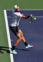 March 15, 2019 - Indian Wells, CA, U.S. - INDIAN WELLS, CA - MARCH 15: Karen Khachanov (RUS) returns the ball in the second set of a quarterfinals match played during the BNP Paribas Open on March 15, 2019 at the Indian Wells Tennis Garden in Indian Wells, CA. (Photo by John Cordes/Icon Sportswire) (Credit Image: © John Cordes/Icon SMI via ZUMA Press)