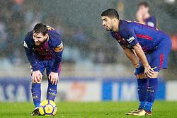 FC Barcelona's Leo Messi (l) and Luis Suarez during La Liga Real Sociedad v FC Barcelona match in San Sebastian-Donostia, Spain, January 14, 2018. Photo by Acero/AlterPhotos/ABACAPRESS.COM