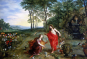 Noli me tangere'  Oil on wood. Private collection. Mary Magdalene, the first to see the risen Christ in the Garden of Gethsemane.  Jan Brueghel or Breughel the Younger (1601-1678) and Hendrick van Balen. Oil on oak panel.
