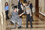 MADRID, SPAIN, 2015 OCTOBER 05 <br /> <br /> Queen Letizia meeting with the Council of the Royal Board on Disability in the Zarzuela Palace<br /> ©Exclusivepix Media