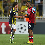 Fenerbahce's Emre Belozoglu and Arsenal's Walcott during the UEFA Champions League Play-Offs First leg soccer match Fenerbahce between Arsenal at Sukru Saracaoglu stadium in Istanbul Turkey on Wednesday 21 August 2013. Photo by Aykut AKICI/TURKPIX