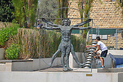 Madatech, Israeli National Museum of Science Technology and Space, Haifa, Israel. Vitruvian Man sculpture,