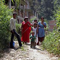 Asia, Nepal, Kathmandu. A family in Kitipur.
